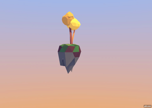 Floating island blender short animation, low poly by Thierry-ThefoxGamer