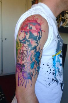 Skull water colour tattoo by Jayluke2006
