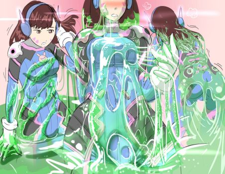 D.Va in Slime by Silkyfriction