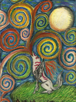 Amaterasu barfs up a skittles rainbow into the sky by FizzyBubbles