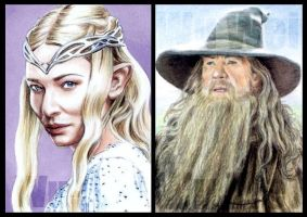 Lord of the Rings sketchcards by whu-wei