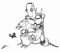 Robot and Butterfly by holaso