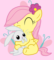Fluttershy and Angel -  with lines by Suahkin