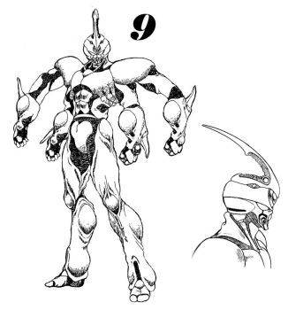 Guyver 9 Line art by lokicube