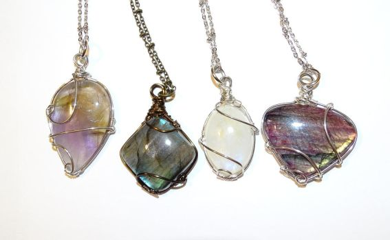 Necklaces with gemstones wire wrapped by Magic-Jewels