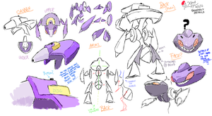 Genesect Detail Sketches