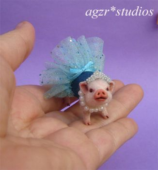 Ooak 1:12 scale Rapunzel Baby Pig Dressed Piglet by AGZR-STUDIOS