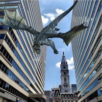 Philly Pic - cityscape with city  hall and a drago by GwennAgainCrafts