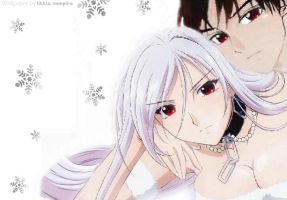 Moka_Tsukune_Winter_Wallpaper by 0LittleVampire0