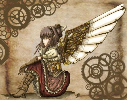 .:Steampunk Angel - Colored:. by scaryrabidfangirl