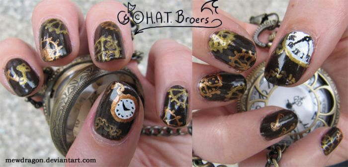 Steampunk Nail Art 2 by Kythana