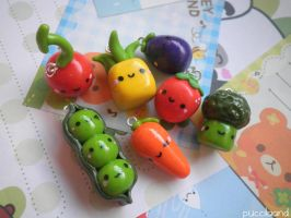 Kawaii Fruit and Veggie Charms by puccilaand
