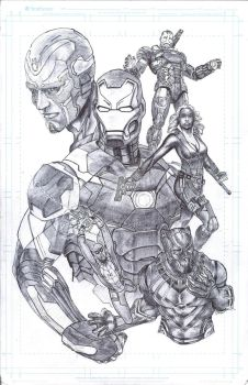 Pnu  Ink Avengers teamblackpanter by lovalleart