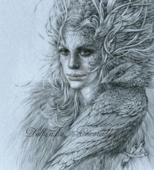 Silver feathers II by DalfaArt