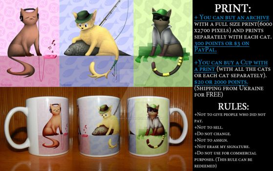 Selling Print with Cats_(OPEN) by MoonlightNightt