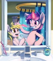 Sparkler Teaches Dinky How to Brushie by LigerStorm