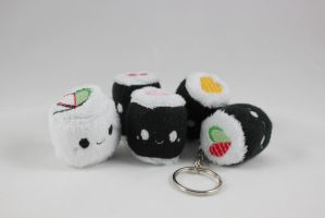 TINY Sushi Roll Heart Plush Keychain by SweetEmii