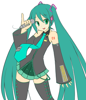 Lineart Miku by TrainerCrystal
