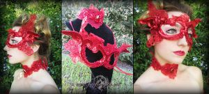 Ruby Butterfly Mask and Choker by Firefly-Path
