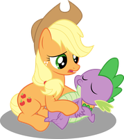 Applejack and Spike by PaulySentry