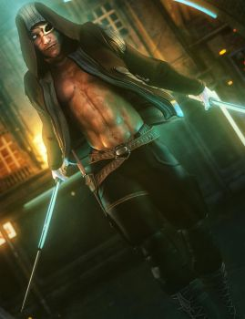 Dark Male Assassin with Glowing Swords Fantasy Art by shibashake