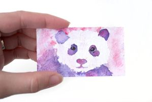 Tiny Watercolor Panda Painting by brandimillerart