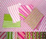 Four baby girl wash cloths by KnitLizzy