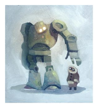 the robot in the snow by Duffzilla