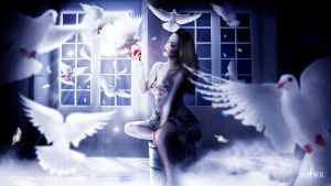 Doves dance in the moonlight by Altair-E