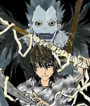 Ryuk and Light - coloured by myitachi