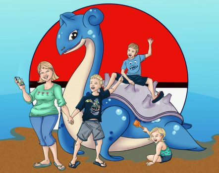 Lapras with Family Commission by JennyGorman