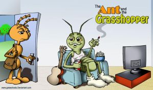 The Ant and the Grasshopper by gatoechado