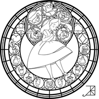 Alice Stained Glass -Redo- -line art- by Akili-Amethyst