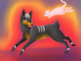 Houndour and Mew Playing