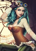 Steampunk Blue Haired Girl by Yuuza