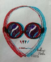 Inktober Day 7: Alien in Sunglasses (UPDATED) by Darquesse12