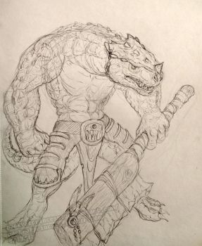 Lizardman Sketch by PackRatPrincess