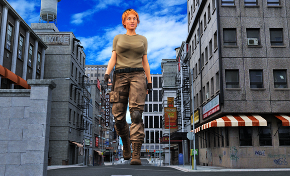Katie on Patrol by 3D-Giantess-Studios