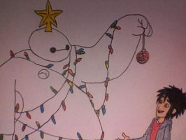 Hiro and Baymax at Christmas by Kailie2122