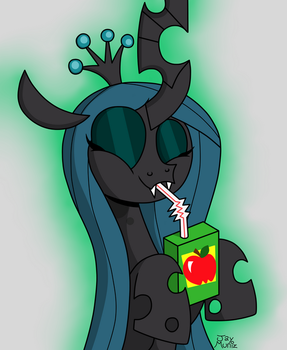 Chrysalis Sipping Juice by TheUnicornLord