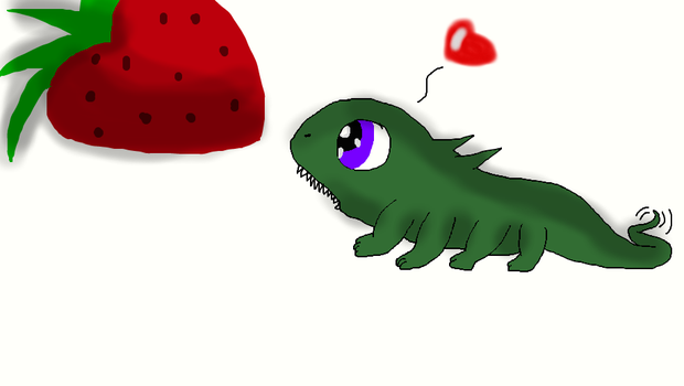 Lizard loves Strawberry by thedragonlover95