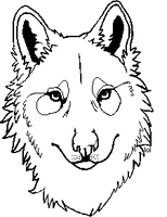 free wolf head lineart by badwordsayer