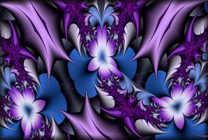 Purple Snails and flowers by Rozrr