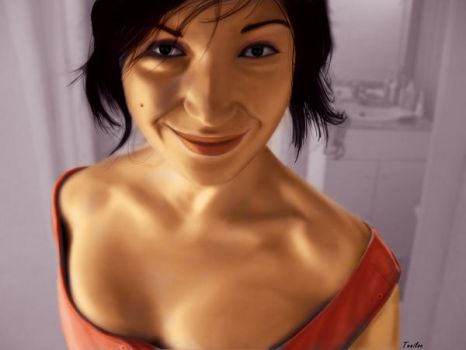 smile woman painting by Teniloc