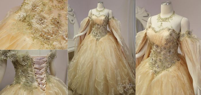 Champagne Peach Fantasy Bridal Gown by Firefly-Path