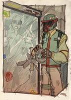 STAR WARS 80's High School - Boba imprisons Han by DenisM79