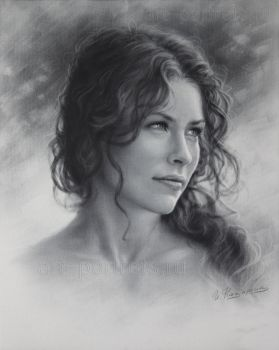 Evangeline Lilly Drawing by Dry Brush by Drawing-Portraits