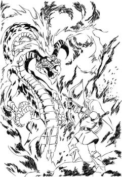 Link vs Volvagia the Subterranean Lava Dragon by Electric-Meat