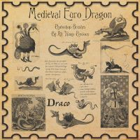 Medieval Euro Dragon Brushes by AllThingsPrecious