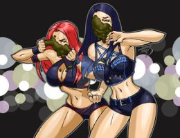 Eva Marie and Paige WWE Slimed 2017 COLORED by LucasAckerman